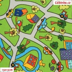 Plátno - Cesta, město se zelení, šíře 140 cm, 10 cm