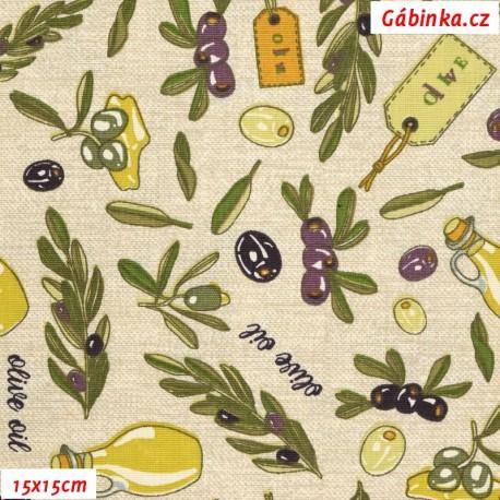 Plátno - Olivy na režném potisku, 15x15 cm