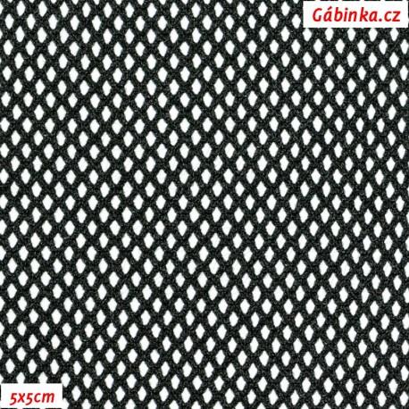 Látka, Síťovina elastická, menší očka - černá, detail 5x5 cm