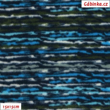Fleece - Proužky modro-černé, 15x15 cm