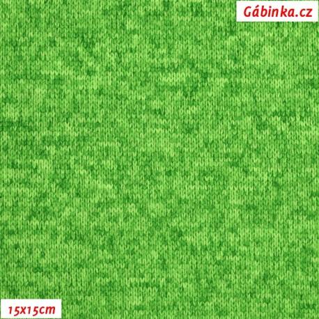 Svetrovina - ostře zelený melír, 15x15 cm