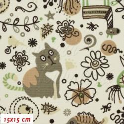 Kočárkovina Premium, Zvířátka s kočkou hnědá na smetanové, šíře 160 cm, 10 cm, 10 cm, ATEST 1