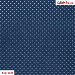 Plátno - Puntíky 1 mm bílé na tmavě modré, šíře 145 cm, 10 cm, ATEST 1