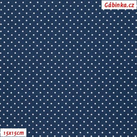 Plátno - Puntíky 1 mm bílé na tmavě modré, 15x15cm