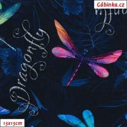 Teplákovina s EL Digitální tisk - Vážky na květinách na tmavě modré, šíře 170 cm, 10 cm