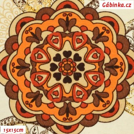 Režné plátno - Mandaly velké červenooranžovohnědé, šíře 140 cm, 10 cm