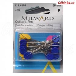 Stehovací špendlíky MILWARD 54 mm s kytičkou (50 ks)