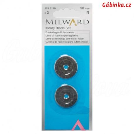 Náhradní čepel na řezací kolečko na patchwork Milward - 28 mm, sada 2 ks