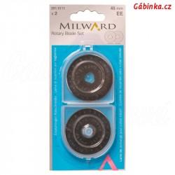 Náhradní čepel na řezací kolečko na patchwork MILWARD - 45 mm, sada 2 ks