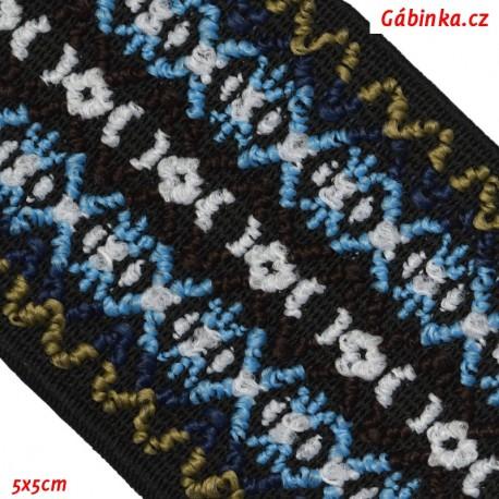 Guma VZOR - PRYM 957 450 - modrobílé hnědobílé modrozelené X pruhy - šíře 50 mm, 10 cm