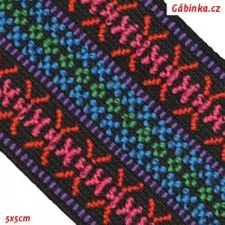 Guma VZOR - PRYM 957 451 - modrá a červená na černé - šíře 50 mm, 10 cm