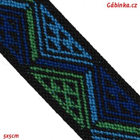 Guma VZOR - PRYM 957 452 - modré a zelené trojúhelníky - šíře 25 mm, 10 cm