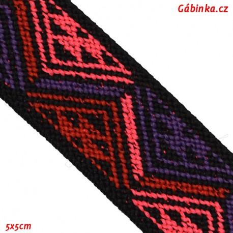 Guma VZOR - PRYM 957 453 - růžové červené a fialové trojúhelníky - šíře 25 mm, 10 cm