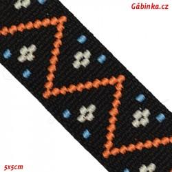 Guma VZOR - PRYM 957 454 - červený had na černé - šíře 25 mm, 10 cm
