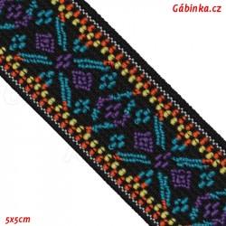 Guma VZOR - PRYM 957 455 - červený had na černé - šíře 25 mm, 10 cm
