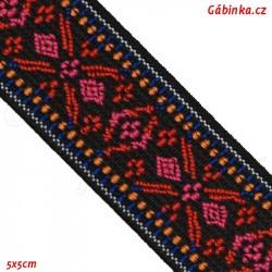 Guma VZOR - PRYM 957 456 - červenorůžové X a bílý modrý a oranžový okraj - šíře 25 mm, 10 cm