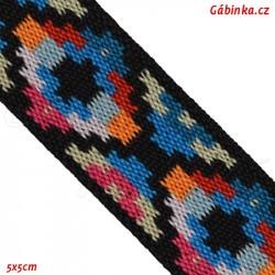 Guma VZOR - PRYM 957 458 - multi pix modrý šedý oranžový červený - šíře 25 mm, 10 cm