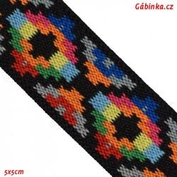 Guma VZOR - PRYM 957 459 - multi pix žlutý modrý zelený oranžový červený - šíře 25 mm, 10 cm
