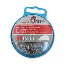 Špendlíky se skleněnou hlavičkou barevnou KOH-I-NOOR RIVAL, 100 ks