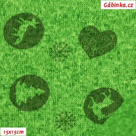 Svetrovina - Lesní zvířátka na ostře zeleném melíru, 15x15 cm