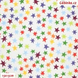 Plátno - Malé hvězdičky barevné na bílé, šíře 140 cm, 10 cm