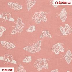 Plátno - Motýlci, můry na starorůžové, šíře 150 cm, 10 cm
