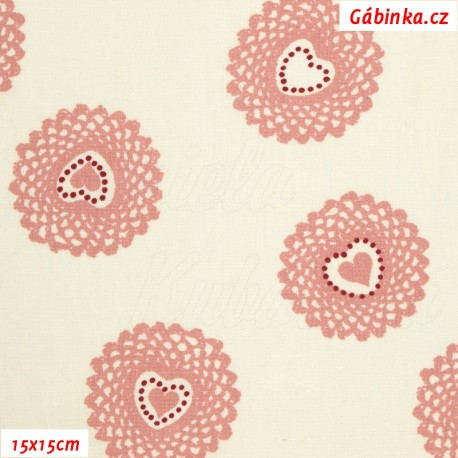 Plátno - Starorůžová srdíčka v pletených kolečkách na bílé, 15x15 cm
