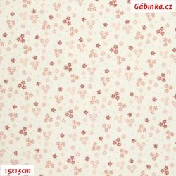 Plátno - Drobné kytičky starorůžové na bílé, šíře 150 cm, 10 cm