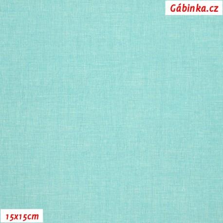 Plátno - Lněná půda mentolová, Atest 1, 15x15 cm