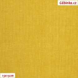 Plátno - Lněná půda hořčicová, Atest 1, šíře 150 cm, 10 cm