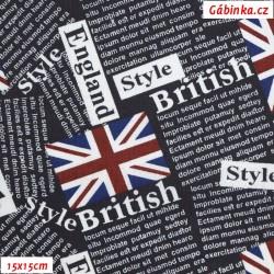 Plátno - Britské vlajky na tmavě modré, šíře 140 cm, 10 cm