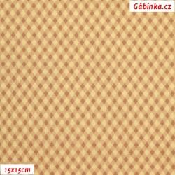 Plátno - Kosočtverečky béžové, 15x15 cm