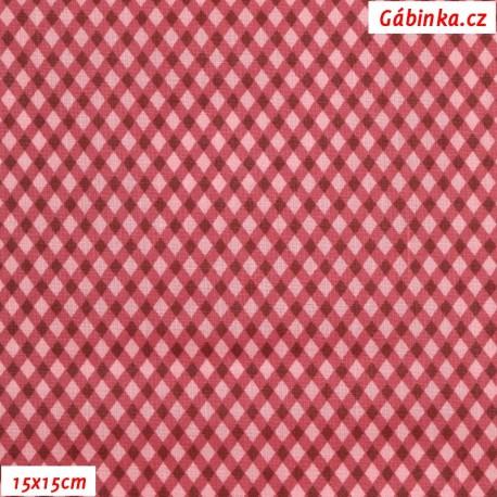 Plátno - Kosočtverečky červené, 15x15 cm