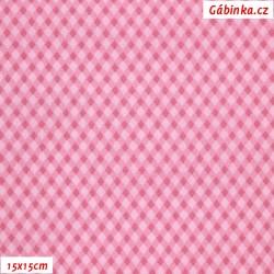Plátno - Kosočtverečky růžové, šíře 140 cm, 10 cm