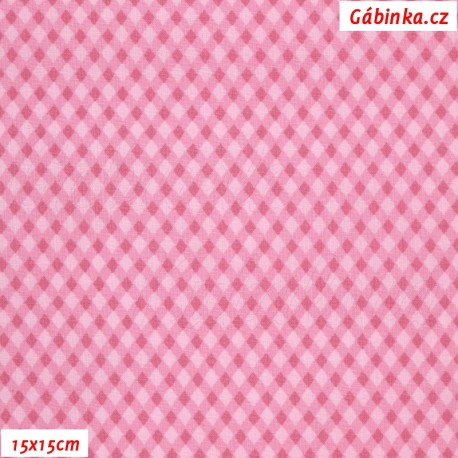 Plátno - Kosočtverečky růžové, 15x15 cm