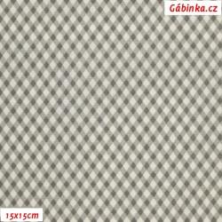 Plátno - Kosočtverečky šedé, šíře 140 cm, 10 cm