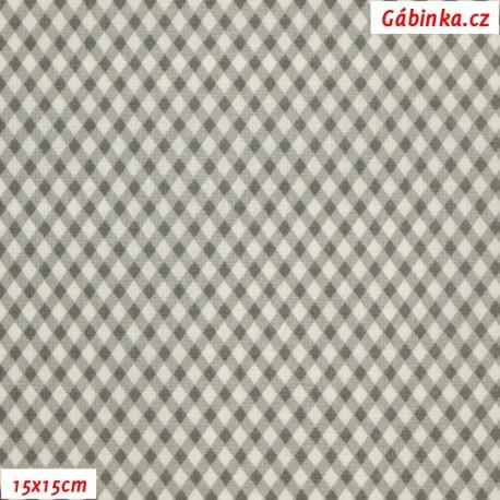 Plátno - Kosočtverečky šedé, 15x15 cm