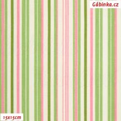 Plátno - Proužky zelené a růžové na bílé, šíře 150 cm, 10 cm