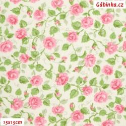 Plátno - Růžičky růžové s lístečky na bílé, 15x15 cm
