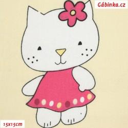Plátno - podobná Hello Kitty na smetanové, 15x15 cm