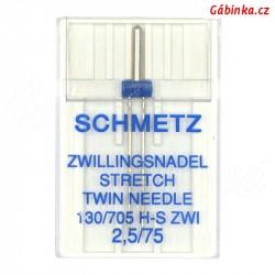 Jehla Schmetz - STRETCH TWIN 130/705 H-S ZWI, 2,5/75, 1 ks