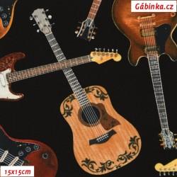 Plátno USA - TT Music - Kytary na černé WEST-C 1211, 15x15 cm