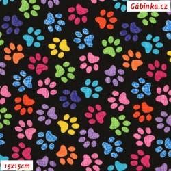 Plátno USA - TT Cats & Dogs - Barevné tlapky na černé Gail-C9328, 15x15 cm