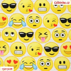 Plátno USA - TT Emoticons - Smajlíci na světlé FUN-C5505, šíře 110 cm, 10 cm
