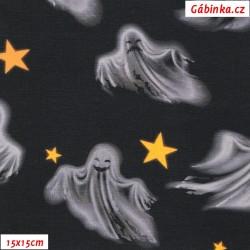 Úplet s EL Digitální tisk - Duchové s hvězdičkami na černé, ATEST 1, šíře 150 cm, 10 cm