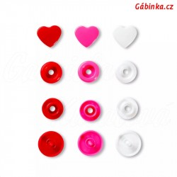 """Patentky """"Color snaps"""" 12,4 mm PRYM LOVE 393 031, srdíčka červená bílá a růžová, 30 ks"""