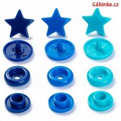 """Patentky """"Color snaps"""" 12,4 mm PRYM LOVE 393 060, hvězdičky modré a tyrkysové, 30 ks"""
