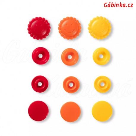 """Patentky """"Color snaps"""" 13,6 mm PRYM LOVE 393 080, kytičky žluté oranžové a červené, 21 ks - sada"""