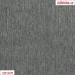 Koženka plastická 05, Stříbrné proužky na šedé, šíře 138 cm, 10 cm