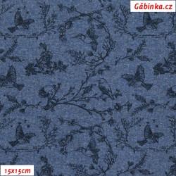 Teplákovina s EL - Malé modré kytičky s ptáčky na modré, šíře 150 cm, 10 cm - pohled 15x15cm